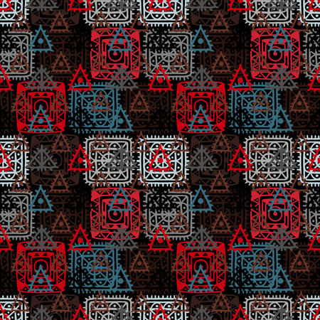 Colorful abstract decorative ethnic seamless pattern. Folk ornament. Lace. Batik. Geometric background. Fabric, textile design. Endless print texture. Wallpaper - vector
