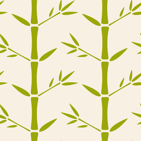 Seamless pattern with silhouettes bamboo trees and leaves. Endless print texture. Forest. Nature. Abstract background. Retro. Vintage style - vector