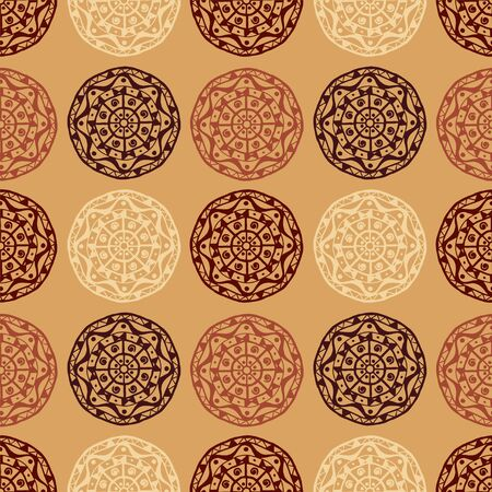 dise�o textil: Colorful abstract decorative ethnic seamless pattern. Gothic ornament. Folk. Lace. Geometric circle background. Fabric, textile design.  Endless print silhouette texture. Wallpaper - vector Vectores