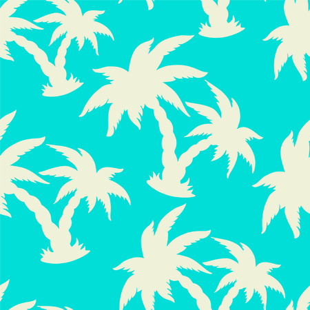 Seamless Pattern with Tropical Coconut Palm Trees Blue and White. Endless Print Silhouette Texture. Forest. Tropic. Hand Drawing. Cartoon. Retro. Vintage style - vector Illustration
