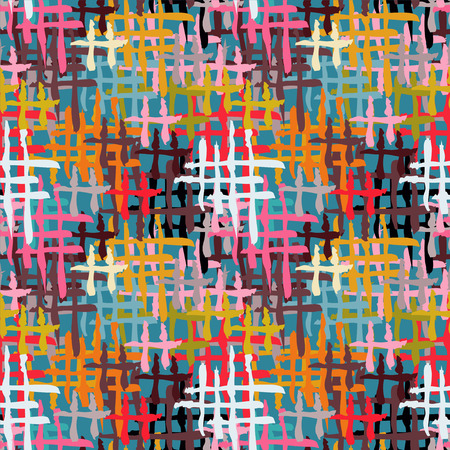 seine: Abstract art grunge seamless pattern. Rainbow geometric background. Paint stains. Spray. Stripes. Circles. Graffiti. Watercolor - vector