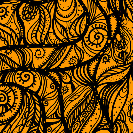 gold leafs: Abstract floral pattern in black and gold. Leafs and flowers. Lace background. Hand drawn. Sketch - vector Illustration