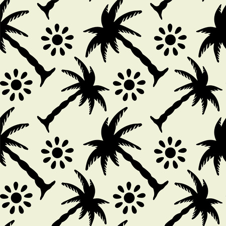 palm tree vector: Seamless Pattern with Tropical Coconut Palm Trees and Sun. Black and White. Monochrome. Hammock. Summer. Endless Print Silhouette Texture. Forest. Tropic. Retro. Vintage style - vector