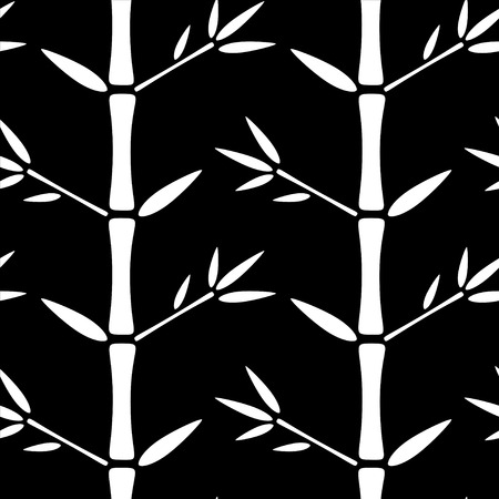 zenlike: Seamless pattern with silhouettes bamboo trees and leaves. Black and white. Monochrome. Nature background. Endless print texture. Forest. Retro. Vintage style - vector