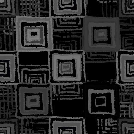 fabric swatch: Abstract art grunge seamless pattern. Ethnic distressed geometric background. Folk black ornament. Square shape, stripes. Graffiti. Fabric swatch, textile design. Endless print texture. Wallpaper - vector Illustration