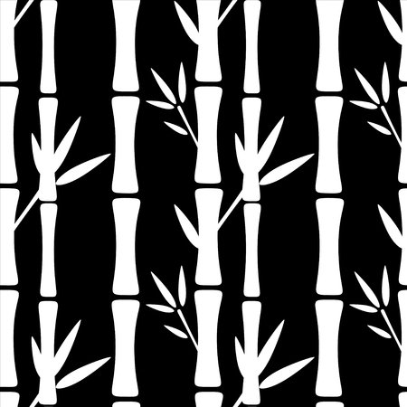 zenlike: Seamless pattern with silhouettes bamboo trees and leafs. Black and white. Monochrome. Abstract floral background. Endless print texture. Forest. Tropics. Retro. Vintage style - vector Illustration