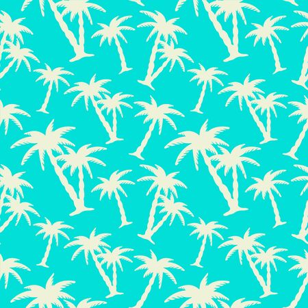 Seamless pattern with tropical coconut palm trees. Nature background. Endless print silhouette texture. Summer. Forest. Tropic. Hand drawing - vector