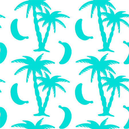 coco: Seamless pattern with tropical coconut palm trees and bananas. Beach background. Endless print silhouette texture. Summer. Forest. Tropic. Food. Fruits - vector Illustration