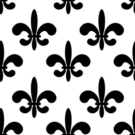 fleur of lis: Seamless pattern with black silhouettes gothic lily flowers on a white background. Endless print texture - vector