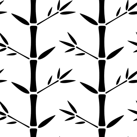 tropics: Seamless pattern with silhouettes bamboo trees and leafs. Black and white. Abstract floral monochrome background. Endless print texture. Forest. Tropics - vector