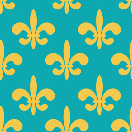 Seamless pattern with silhouettes royal lily flowers. Gothic background. Fleur-de-lys. Endless print texture - vector