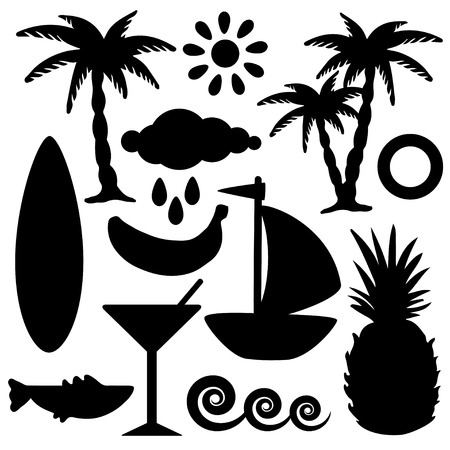 tree rings: Set black silhouettes tropical coconut palms trees, pineapple, banana, sun, cloud, waves, surf board, yacht, fish shark, cocktail martini glass, lifebuoy, rain drops isolated on white background. Summer icons - vector Illustration