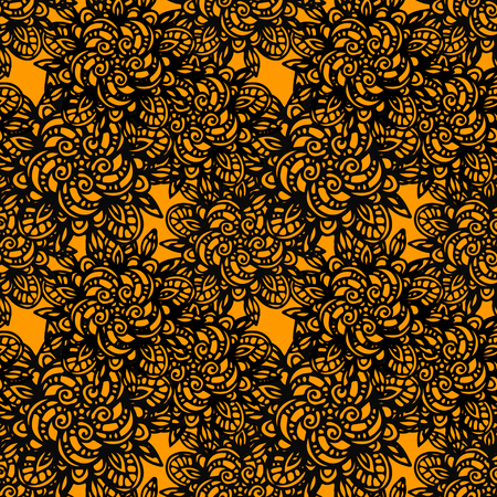 gold lace: Abstract seamless pattern with flowers in black and gold. Lace floral background. Endless print texture. Line art - vector Illustration