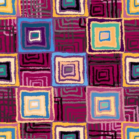 seine: Abstract art grunge seamless pattern. Ethnic distressed geometric background. Folk rainbow ornament. Square shape, stripes. Graffiti. Fabric swatch, textile design. Endless print texture. Wallpaper - vector