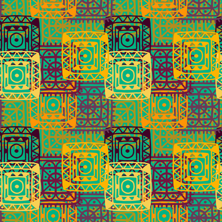 ethnical: Abstract geometric seamless pattern. Ethnic distressed background. Folk rainbow ornament. Tribal art. Square, circles shapes. Endless texture - vector Illustration