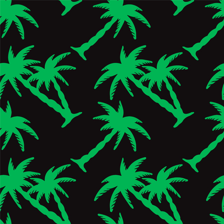 rain forest: Seamless pattern with silhouettes tropical coconut palm trees. Black and green. Summer. Beach holidays background. Rain forest. Tropics. Endless print texture - vector Illustration