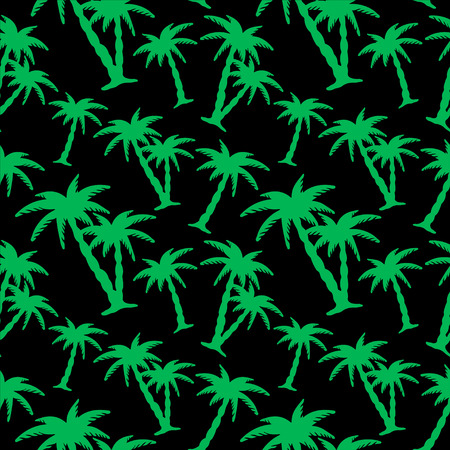 rain forest: Seamless pattern with green silhouettes coconut palm trees on a black background. Endless print texture. Tropical rain forest. Jungle. Tropics - vector Illustration