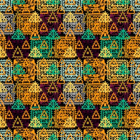 folk art: Abstract geometric seamless pattern. Ethnic distressed background. Folk rainbow ornament. Tribal art. Square, triangles, circles. Endless texture - vector