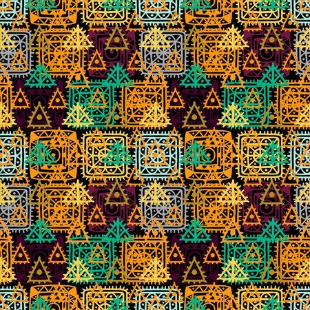 arte abstracto: Modelo inconsútil geométrico abstracto. angustia de fondo étnico. Folk ornamento arco iris. El arte tribal. Cuadrado, triángulos, círculos. Sin fin de textura - vector