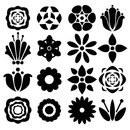 silhouette fleur: Ensemble noir silhouettes fleurs isolé sur un fond blanc. icônes Floral - vecteur