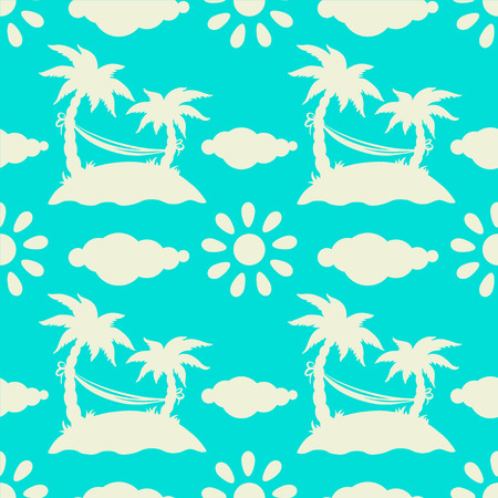 tropics: Seamless pattern with silhouettes tropical coconut palm trees, hammock, sun, clouds, island. Blue and white. Summer. Beach holidays background. Rain forest. Tropics. Endless print texture - vector