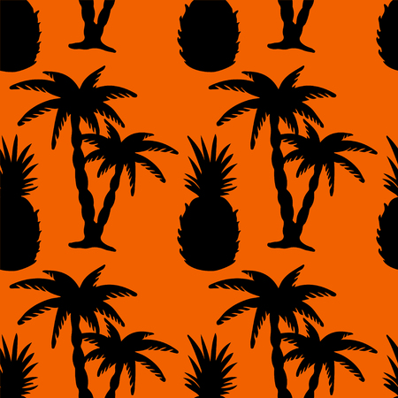 rain forest: Seamless pattern with silhouettes tropical coconut palm trees and pineapples. Black and orange. Summer. Beach holidays background. Food. Fruit. Exotic. Rain forest. Tropics. Endless print texture - vector