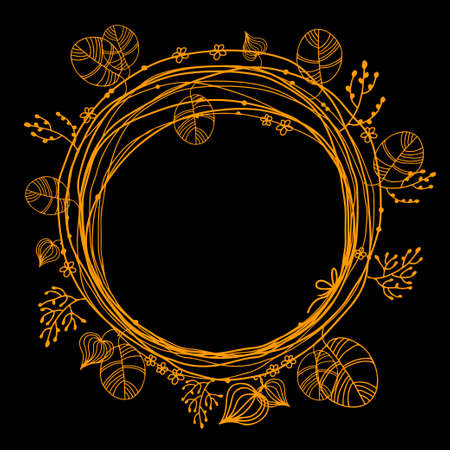 Holiday abstract circle floral gold frame isolated on a black background. Summer. Flowers. Circlet. Wreath Illustration