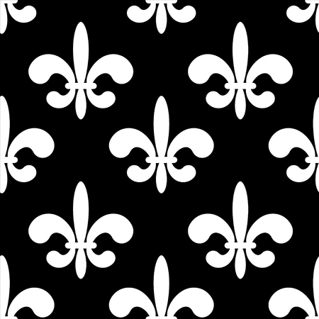 royal french lily symbols: Seamless pattern with black silhouettes gothic lily flowers on a white background. Endless print texture