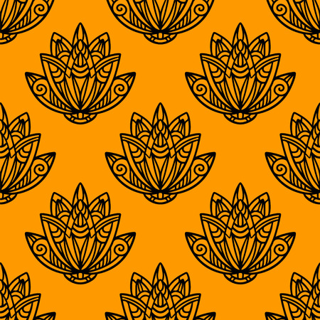 nenuphar: Abstract floral seamless pattern with lotus flowers in black and gold. Water lily.  illustration. Endless print texture. Retro. Vintage style