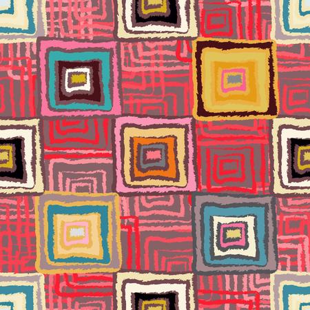 fabric swatch: Abstract art grunge seamless pattern. Ethnic distressed geometric background. Folk rainbow ornament. Square shape, stripes. Graffiti. Fabric swatch, textile design. Endless print texture. Wallpaper Illustration