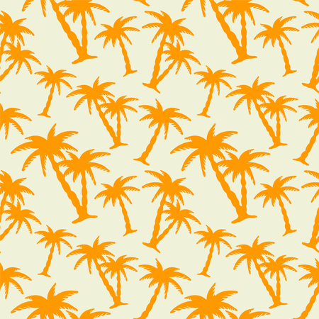 rainforest tree: Seamless pattern with silhouettes tropical coconut palm trees. Orange and white. Summer. Beach holidays background. Rain forest. Tropics. Endless print texture Illustration