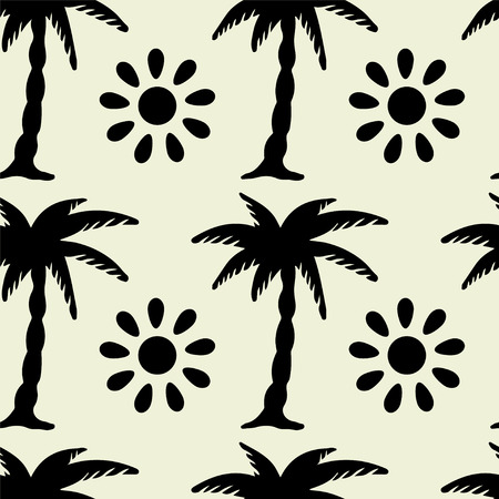 tropics: Seamless pattern with silhouettes tropical coconut palm trees and sun. Black and white. Monochrome. Summer. Beach holidays background. Rain forest. Tropics. Endless print texture Illustration
