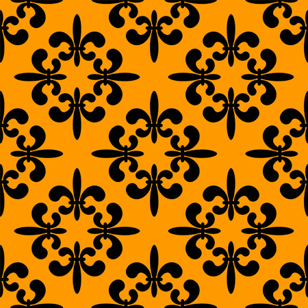 fleur de lis: Seamless pattern with gold silhouettes gothic lily flowers on a black background. Endless print texture Illustration