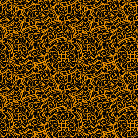 arabic gold: Ethnic seamless pattern in black and gold. Folk ornament. Lace background. Arabesques. Wallpaper. Endless print texture. Arabic Style