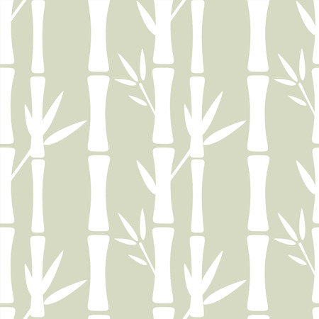 Seamless pattern with silhouettes bamboo trees and leafs. Abstract floral background. Summer, tropics, rain forest. Endless print texture - vector Ilustracja