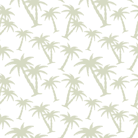 Abstract floral seamless pattern with silhouettes tropical coconut palm trees. Beach background. Summer, tropics, rain forest. Endless print texture - vector