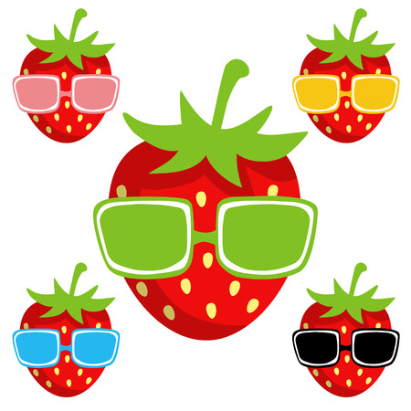 sun glasses: Set  strawberry,  sun glasses isolated on a white background cartoon illustration - vector