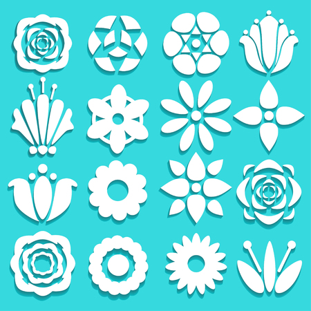 leafs: Set white silhouettes paper flowers and leafs isolated on a blue background. Floral flat icons - vector Illustration