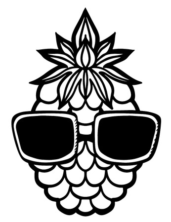 sun glasses: Pineapple and sun glasses black sketch cartoon hand drawn illustration isolated on a white background - vector