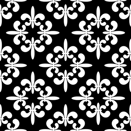 royal french lily symbols: Seamless pattern with black silhouettes gothic lily flowers on a white background. Endless print texture - vector
