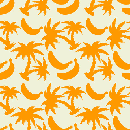 cartoon palm tree: Abstract floral seamless pattern with orange silhouettes tropical coconut palm trees and bananas on a white background. Endless print texture. Rain forest, jungle, fruit - vector