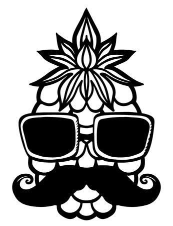 sun glasses: Pineapple, sun glasses, mustache black sketch cartoon hand drawn illustration isolated on a white background - vector