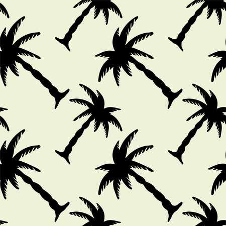 Abstract floral seamless pattern with silhouettes tropical coconut palm trees.