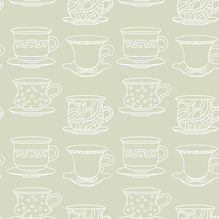 demitasse: Abstract light seamless pattern with tea cups, coffee cups. Endless print texture. Tea party repeating background. Fabric design. Wallpaper - vector