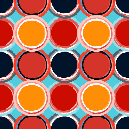constructivism: Abstract grunge rainbow seamless pattern with circles. Geometric distressed background. Constructivism art. Paint stains. Graffiti. Endless print silhouette texture. Fabric design. Wallpaper - vector Illustration