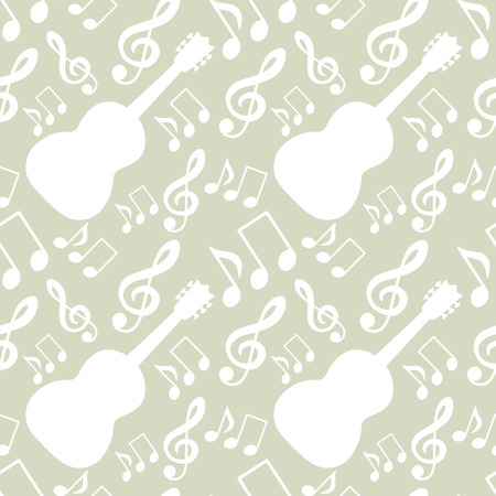 crotchet: Abstract musical seamless pattern with music notes, treble clef, guitar. Party repeating background. Fabric design. Wallpaper - vector Illustration