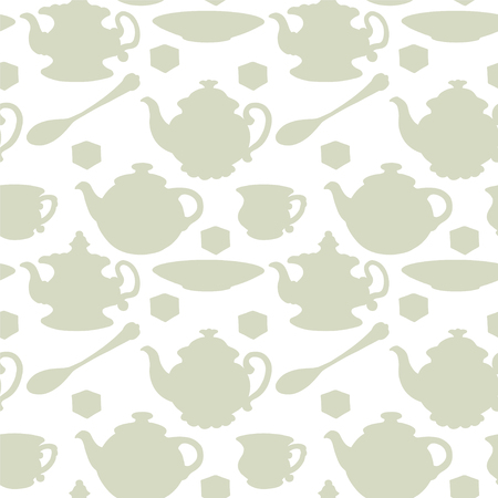 teaparty: Abstract light seamless pattern with tea cups, coffee cups, teaspoon, saucer and teapots. Endless print silhouette texture. Tea party repeating background. Fabric design. Wallpaper Illustration
