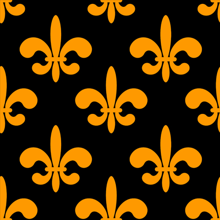 royal french lily symbols: Seamless pattern with gold silhouettes gothic lily flowers on a black background. Endless print texture Illustration