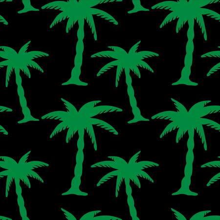 Abstract floral seamless pattern with silhouettes tropical coconut palm trees. Summer background. Tropics, rain forest. Endless print texture. Fabric design. Wallpaper