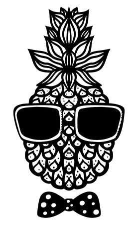 sun glasses: Pineapple, sun glasses and bow tie black sketch cartoon drawn illustration isolated on a white background